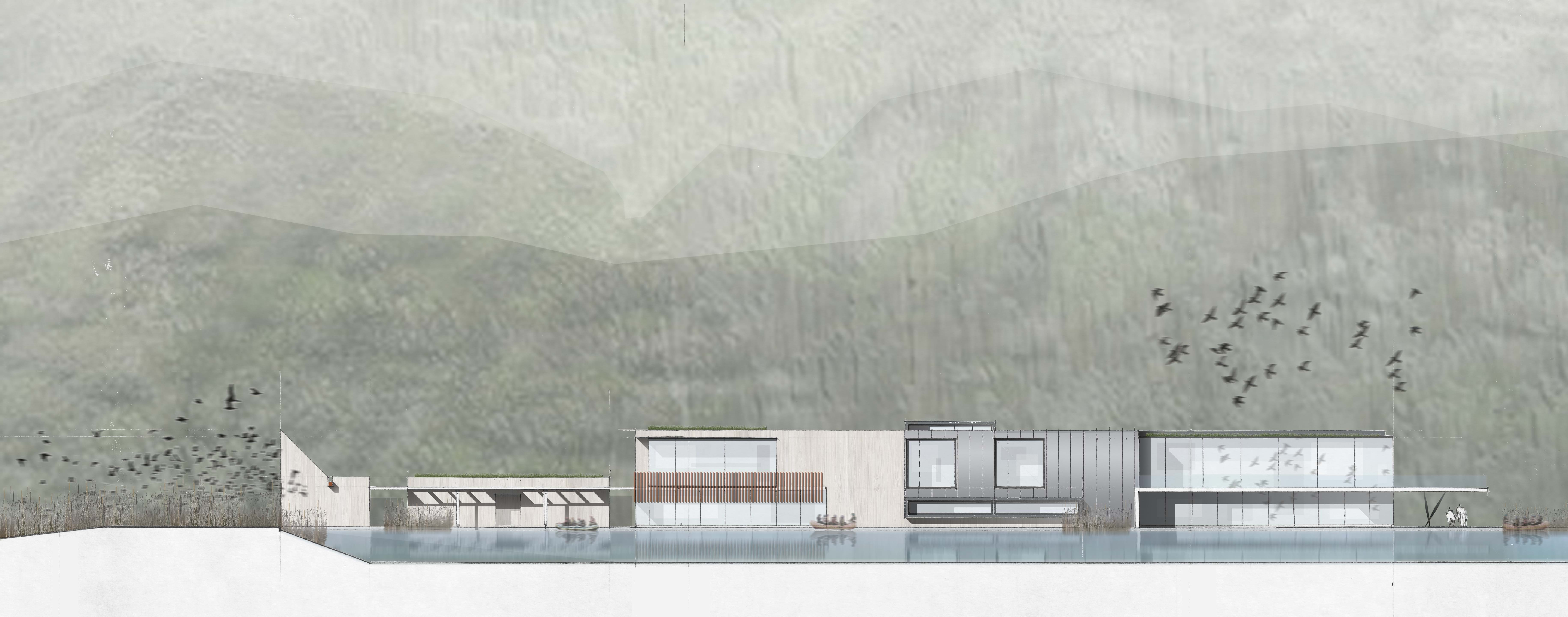 White Water Rafting Centre Elevation Sketch