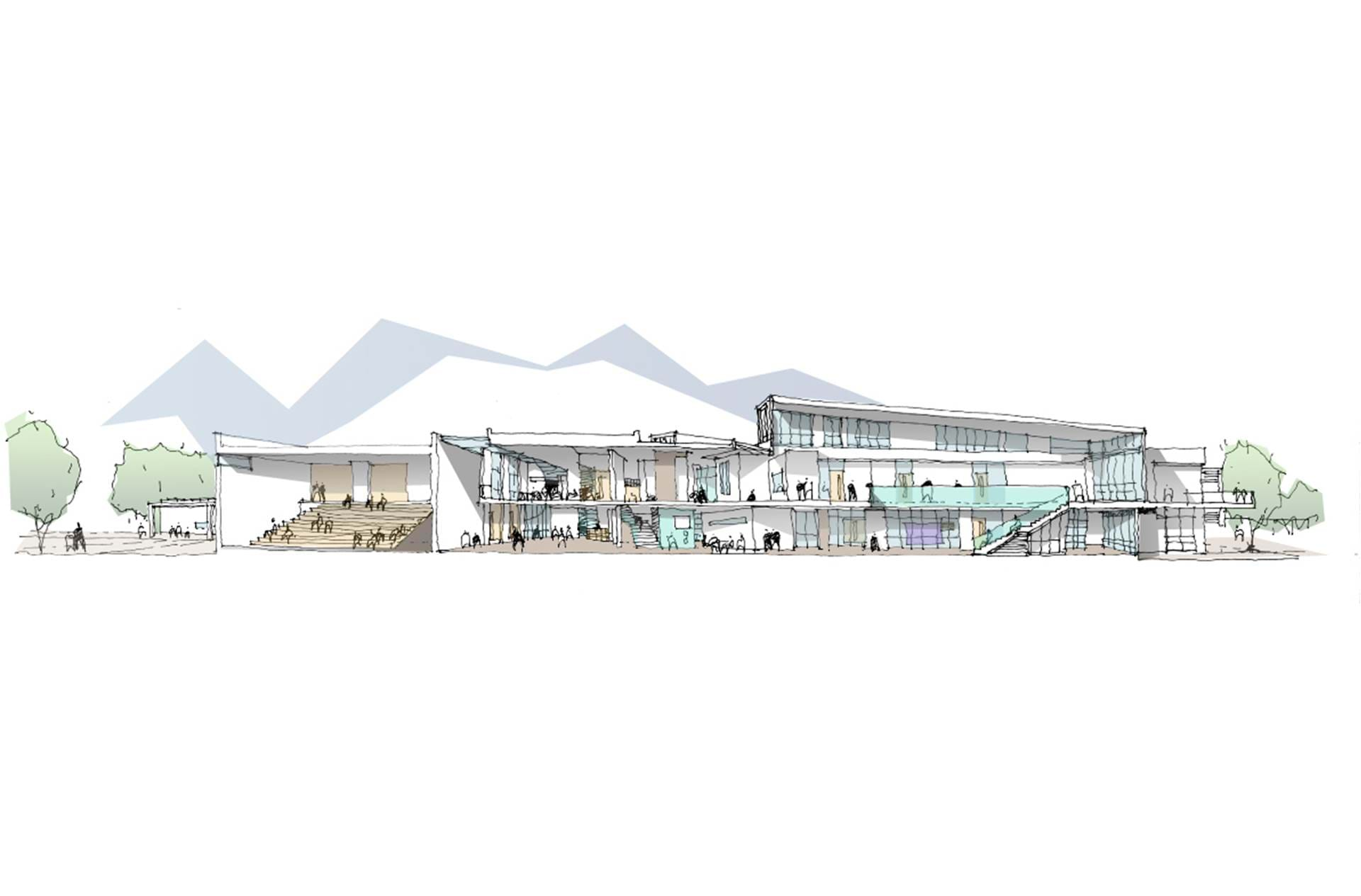YD1 Cross Section Through Main Hall, Heart Space, SEN And Communication Informal Space For Website